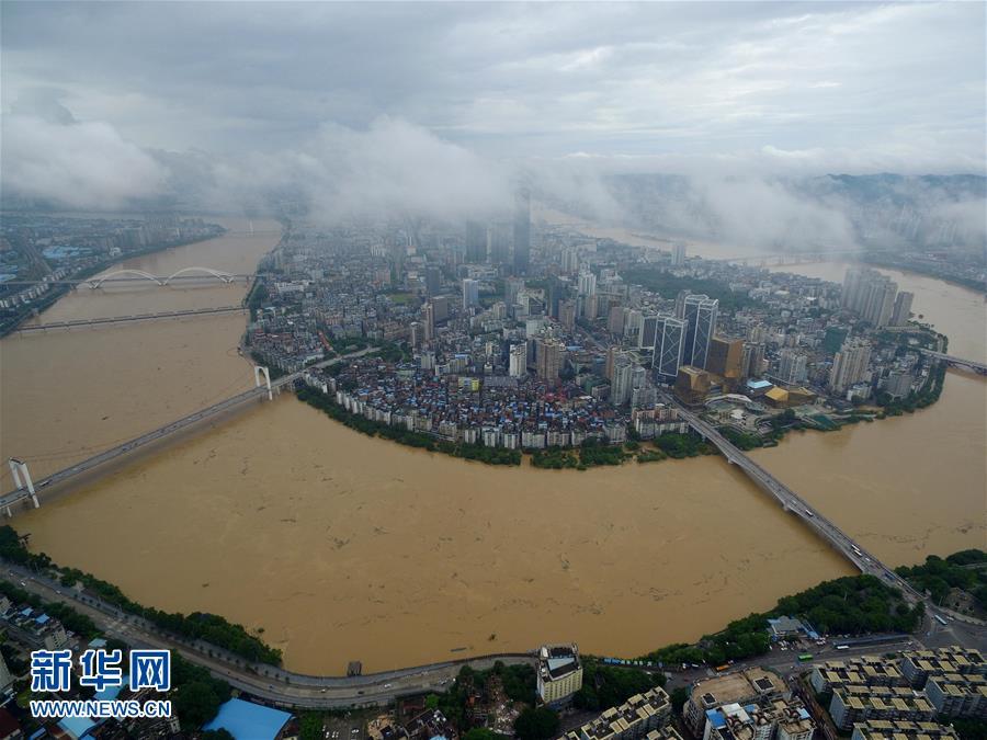 #(生态)(1)广西柳江迎来今年第二次洪峰