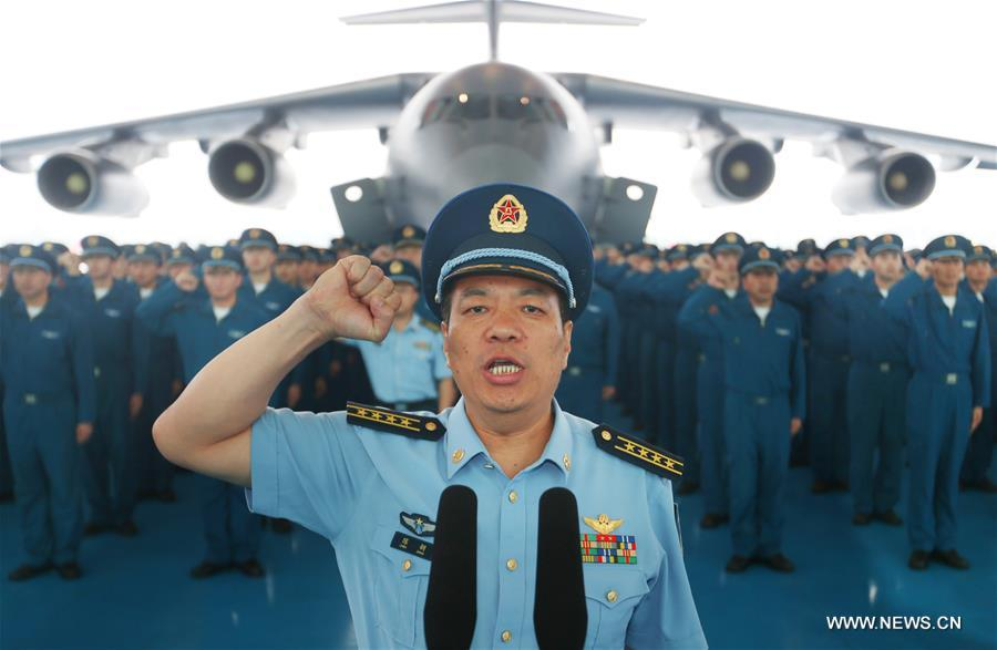 #(FOCUS)CHINA-Y-20 LARGE FREIGHTER PLANE- MILITARY SERVICE (CN)