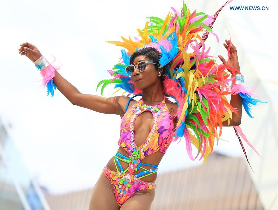 A dressed up reveller performs during the official launch ceremony of the 2016 Toronto Caribbean Carnival at Nathan Philips Square in Toronto, Canada, July 5, 2016.