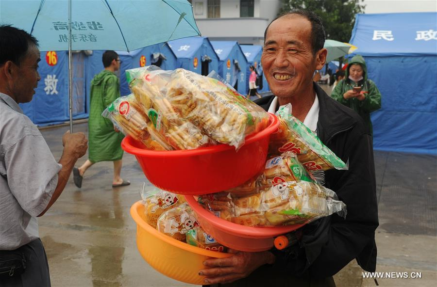 People affected by torrential rainfall in Shucheng have been relocated to safety places.