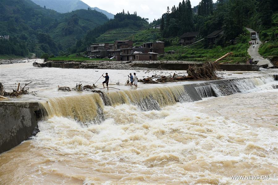 Torrential rainfall on July 3 and 4 has affected 29,032 people and over 700 hectares of crops, damaged 64 houses, 15 roads and four hydropower stations in Luocheng by Wednesday evening.