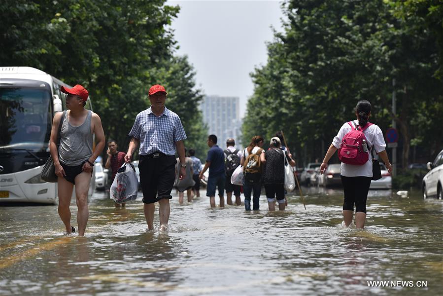 Drainage of waterlogged areas near the Nanhu Lake is still underway