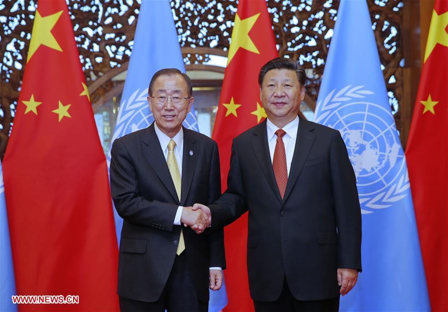 Chinese President Xi Jinping (R) meets with UN Secretary-General Ban Ki-moon in Beijing, capital of China, July 7, 2016. (Xinhua/Ju Peng)