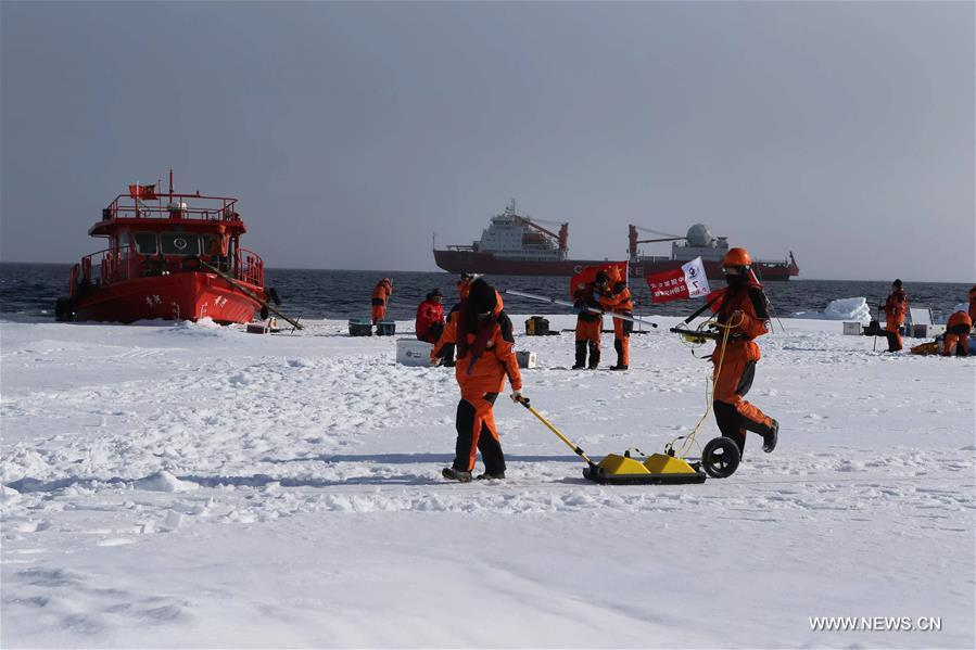The research team of China's seventh expedition set up its first ice station and began working on Thursday.