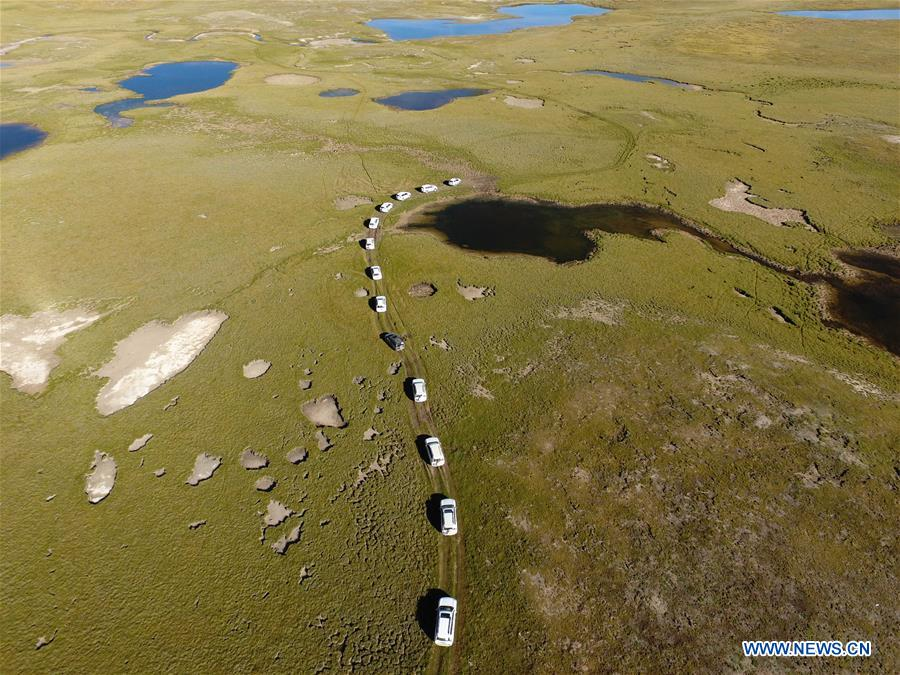 An aerial photo taken on Aug. 19, 2016 shows the area of the source of Lancang River in Yushu, northwest China's Qinghai Province.