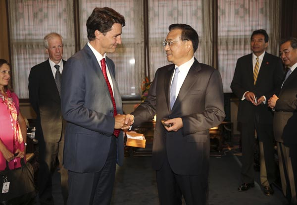 Premier Li welcomes Canadian Prime Minister in Forbidden City