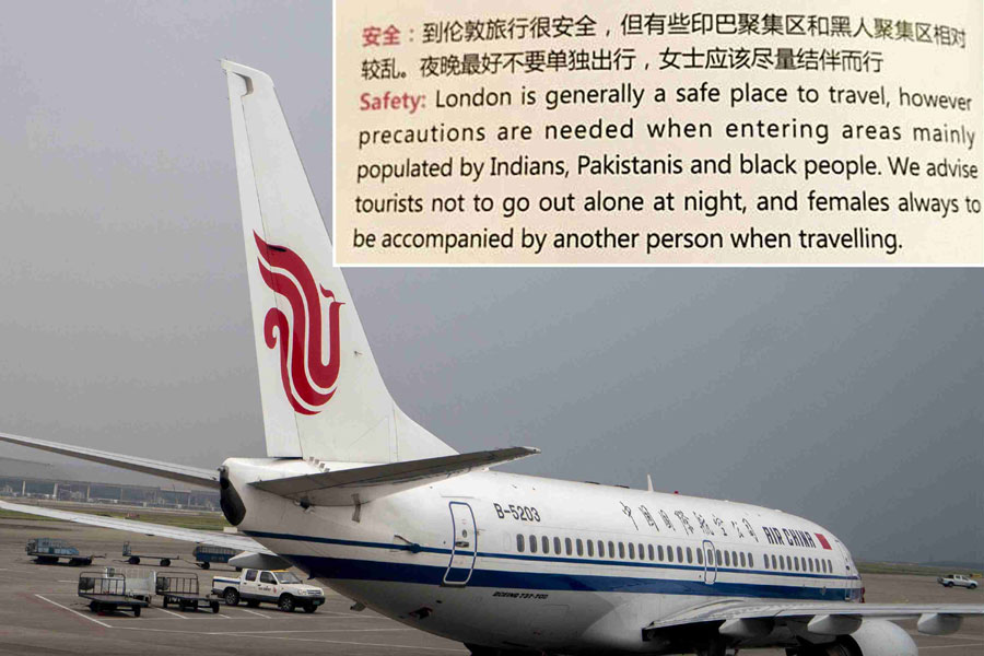 Air china apologizes amid anger over magazine racist article an image of an article from onboard magazine wings of china shows in chinese and english that precautions are needed for visitors going to areas of publicscrutiny Images
