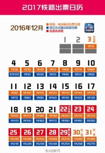 官方明确春运时间 大年三十火车票12月29日开抢