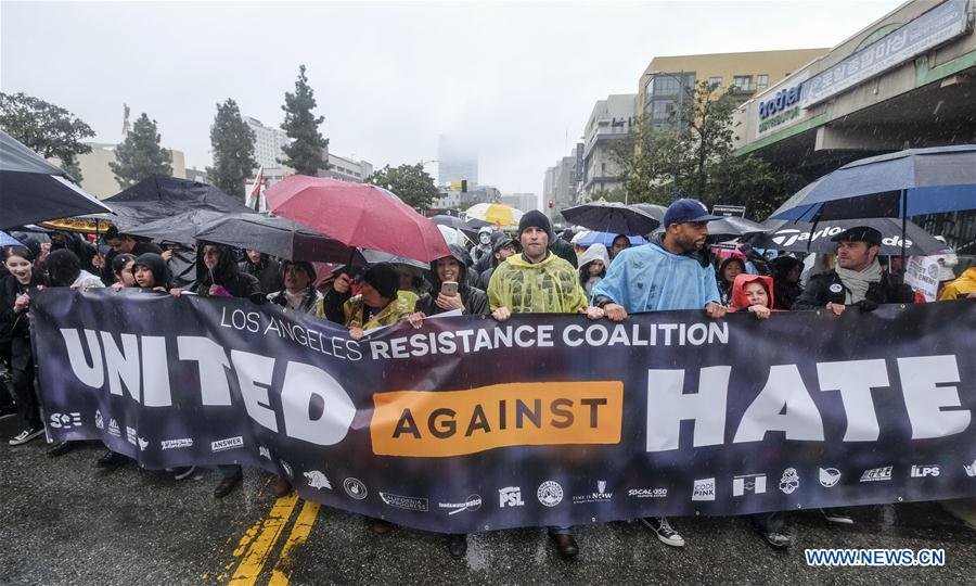 U.S.-LOS ANGELES-PROTEST-DONALD TRUMP