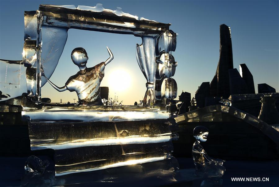 Ice sculptures began to melt as temperature rose recently.