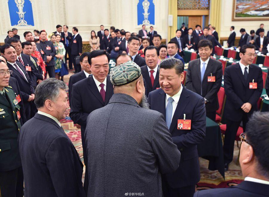 习近平到新疆代表团参加审议
