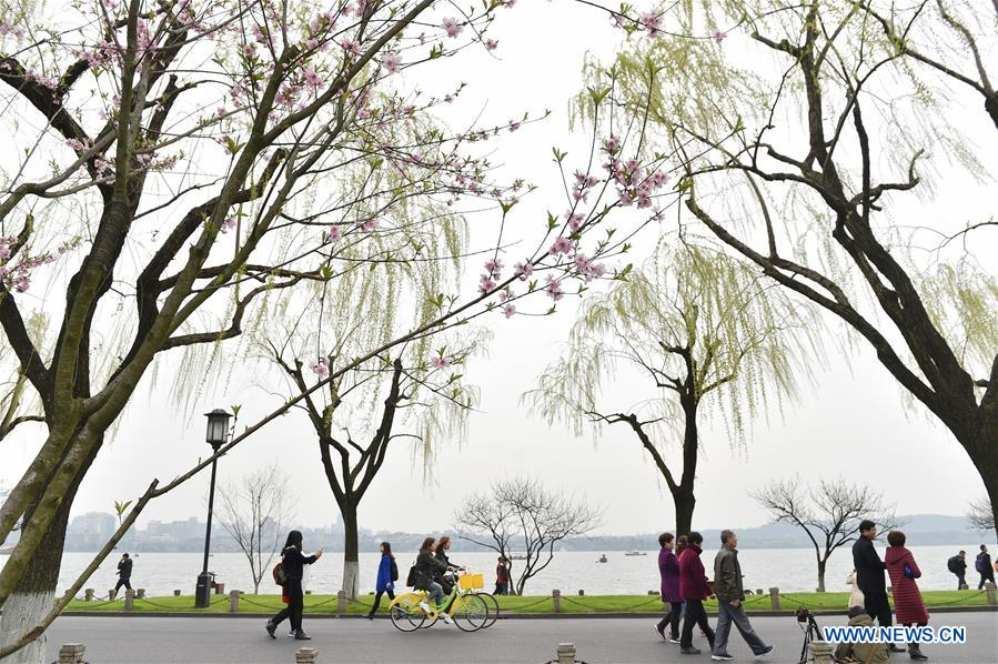 Tourists visit Bai Causeway in West Lake scenic area