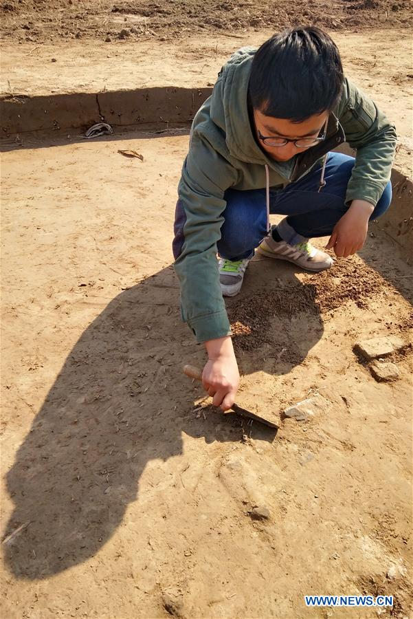 An archaeologist works at the ancient Haifeng town ruins site in Huanghua, north China's Hebei Province, March 17, 2017. Chinese archaeologists began the second-stage excavation of the ruins here, expecting to unveil functions of the town as an important trade port during the Jin (1115-1234) and Yuan (1271-1368) dynasties in Chinese history. (Xinhua/Yang Shiyao)