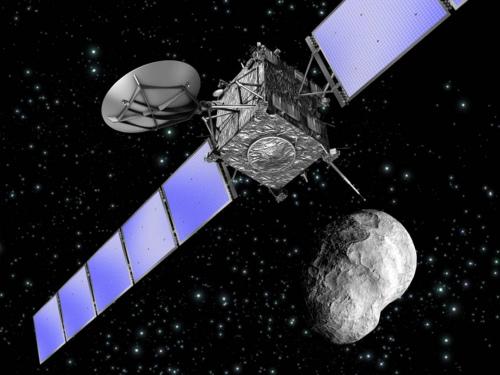 资料图:航天器飞过小行星。(ESA)