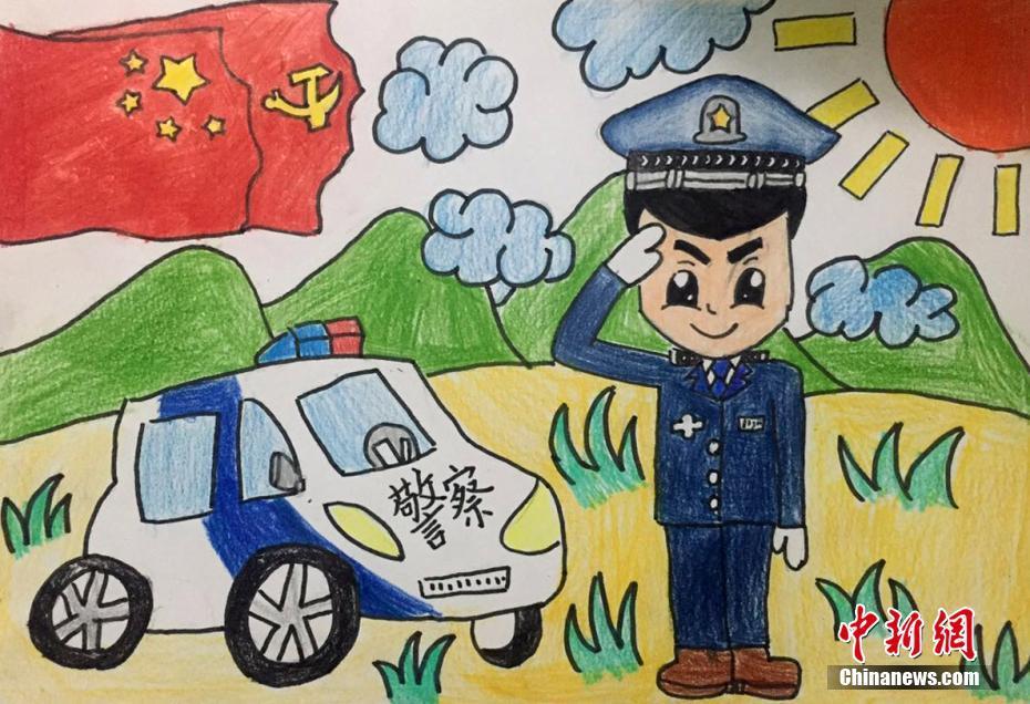 9岁的曾琪涵手绘自己的警察爸爸在党旗,国旗和太阳下敬礼.