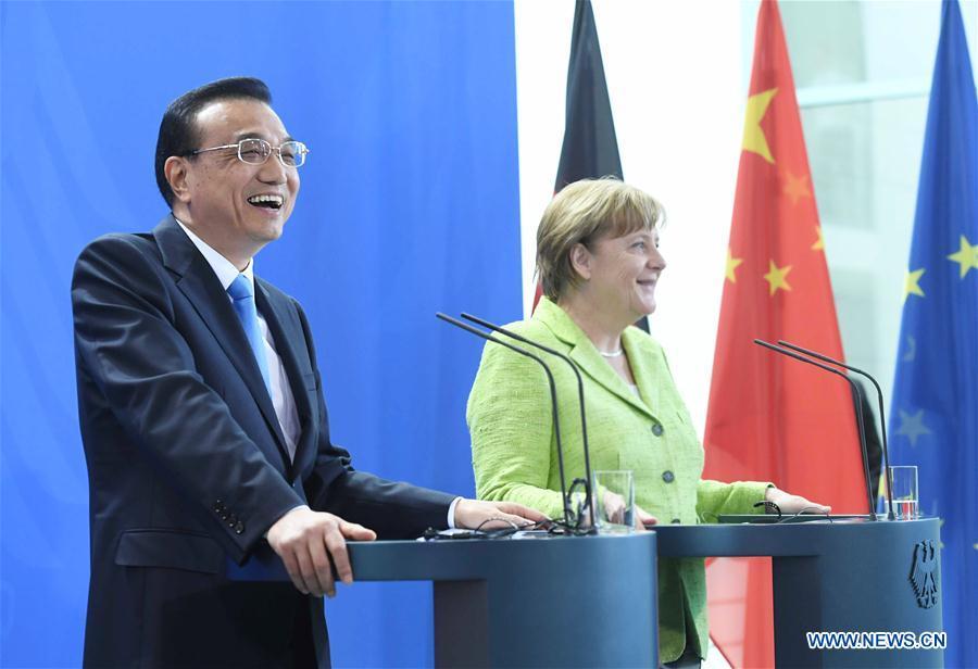 GERMANY-CHINA-LI KEQIANG-MERKEL-PRESS CONFERENCE
