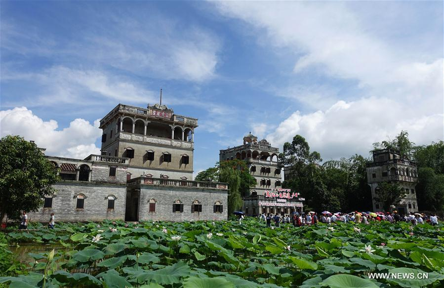 Lotus seen at scenic spot of Diaolou in south China