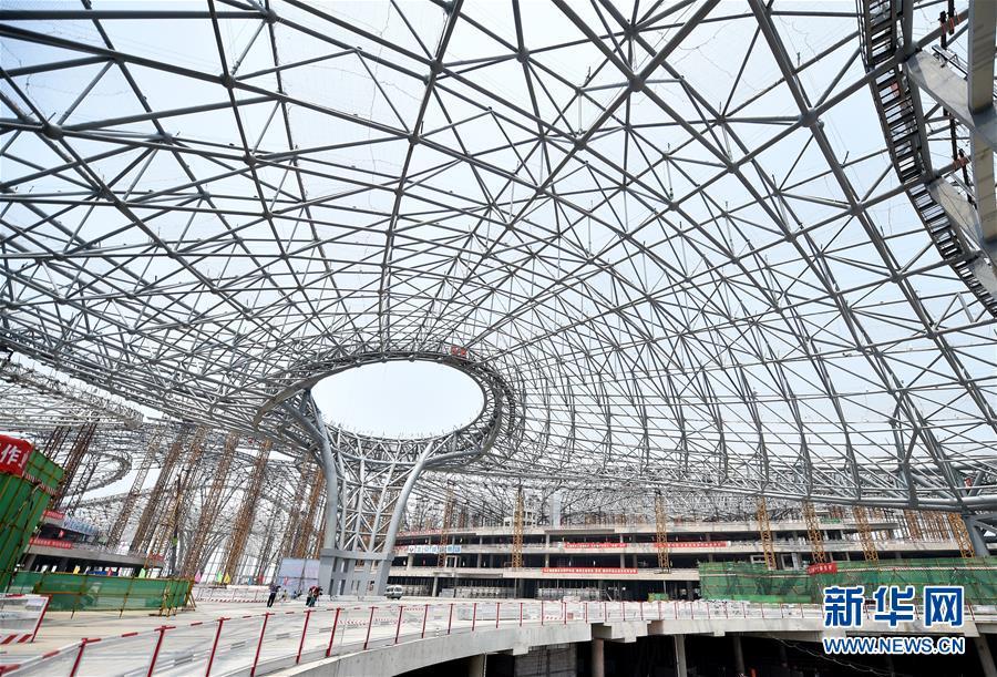 北京新机场航站楼钢结构封顶--图片频道--人民网
