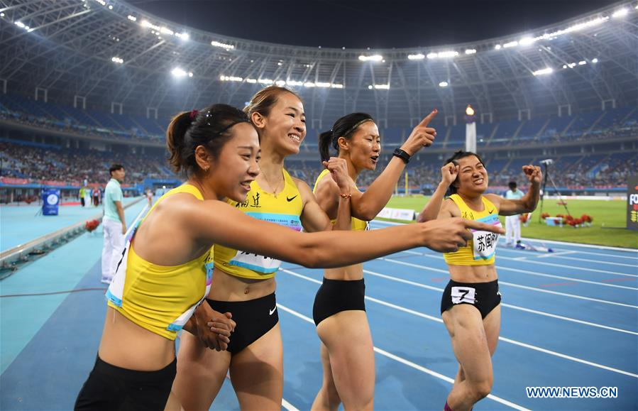 Joint team of Jiangsu, Fujian and Hunan wins women's 4×100m relay race