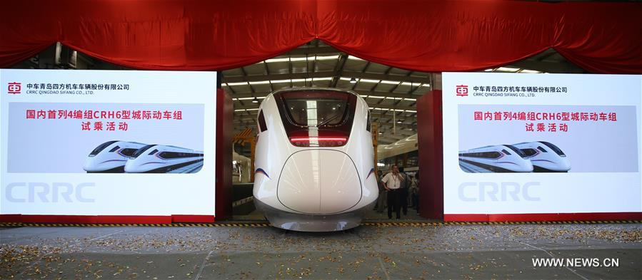 China's CRH6A-A, CRH6F-A intercity trains go off production line in Qingdao