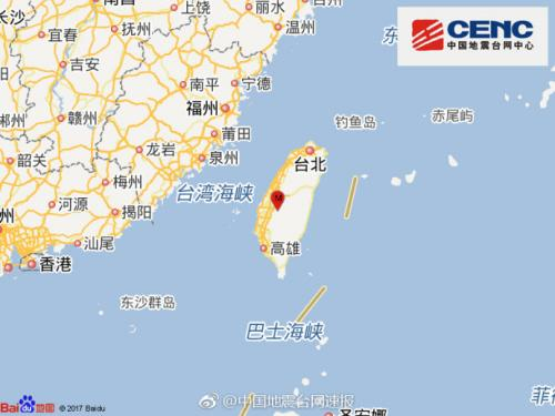 台湾中部连发7起有感地震主震里氏规模5.1