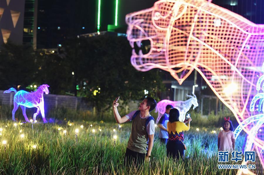 12月5日,在泰国曼谷,参观者在2017泰国彩灯节上拍照。   当日,2017泰国彩灯节在曼谷对公众开放。据了解,彩灯节上的各式LED光源彩灯作品共占地约6万平方米,将展出至2018年1月6日。   新华社记者李芒茫摄