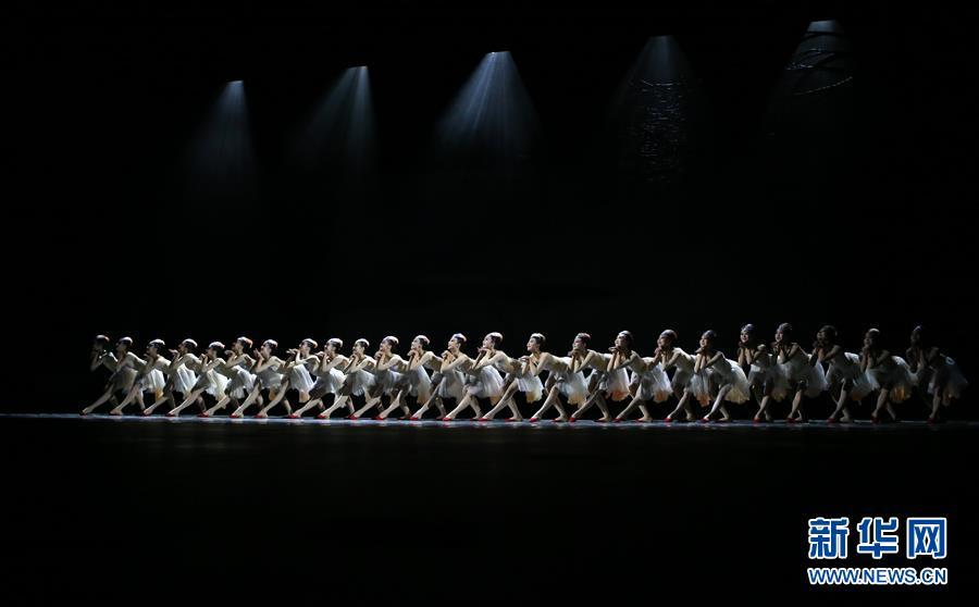 演员在中国舞剧《朱鹮》媒体场演出中表演