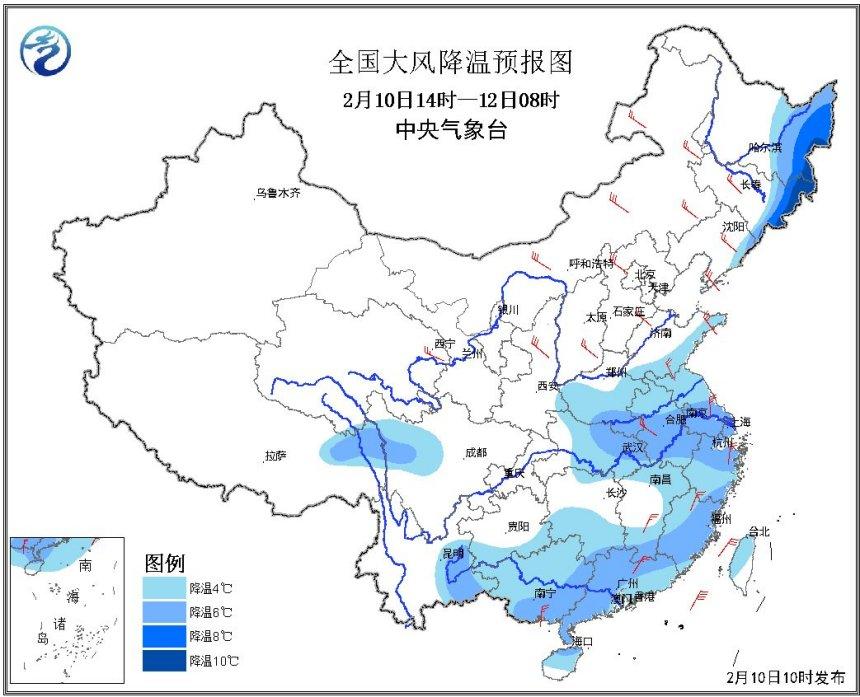 今明两天江淮云南东部局地降温可达10℃
