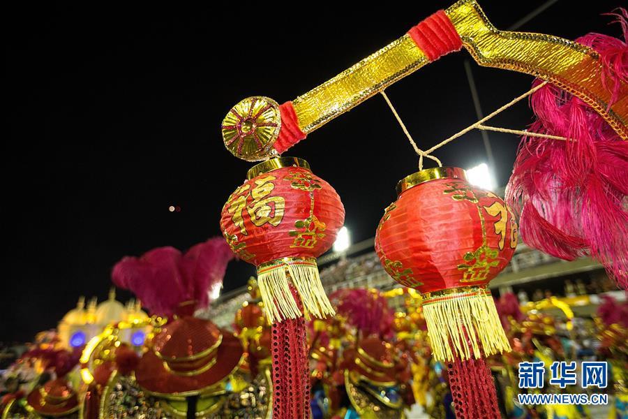 (国际)(2)巴西老牌桑巴舞校以中国主题亮相里约狂欢节