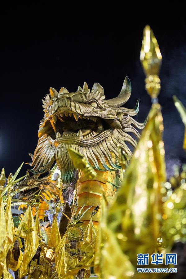 (国际)(4)巴西老牌桑巴舞校以中国主题亮相里约狂欢节