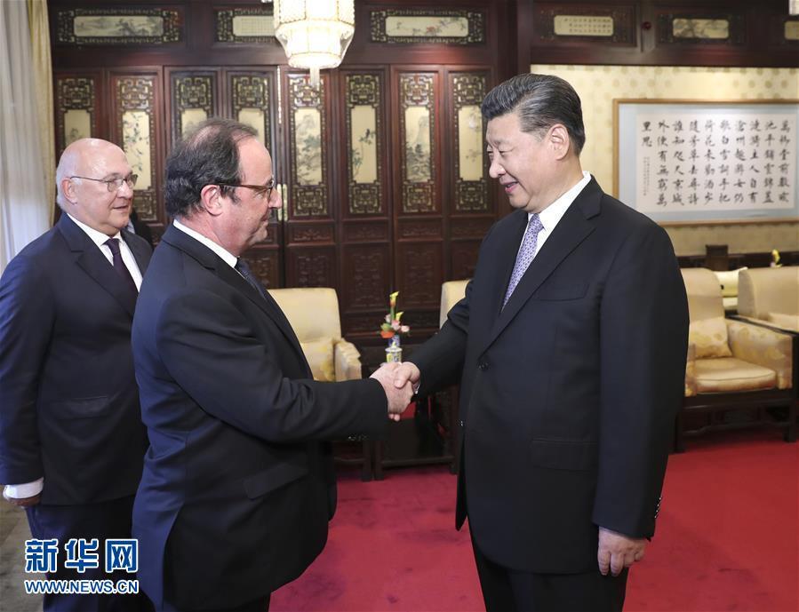 (时政)习近平会见法国前总统奥朗德