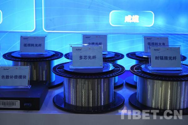 图为武汉烽火通信副总裁蓝海介绍光纤生产工艺流程