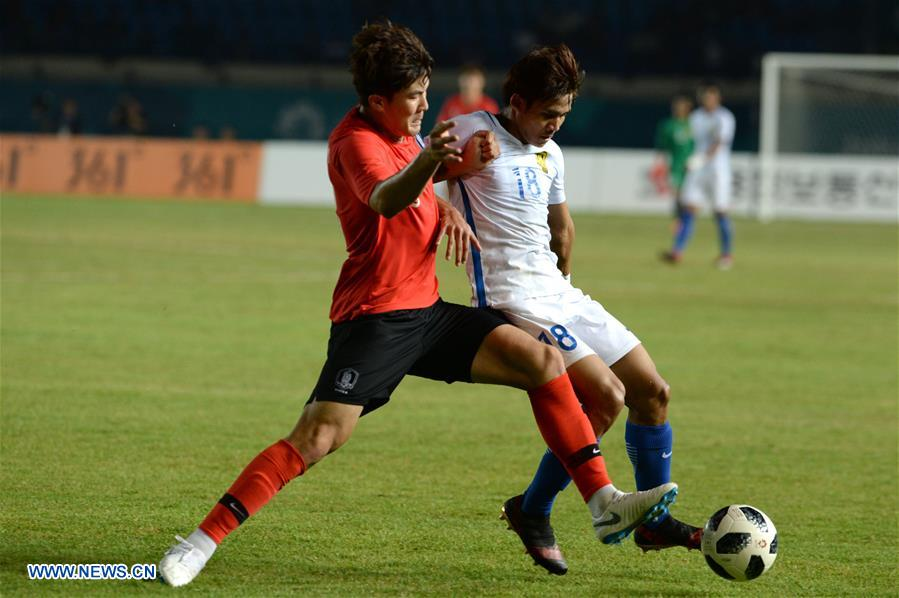 (SP)INDONESIA-BANDUNG-ASIAN GAMES 2018-MEN'S FOOTBALL MATCH-MALAYSIA VS SOUTH KOREA
