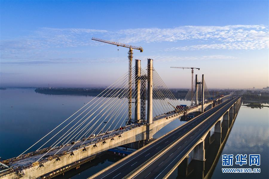 #(经济)(4)蒙华铁路汉江特大桥完成挂索