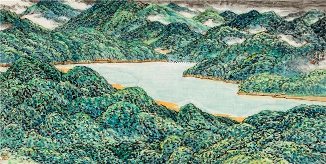 翠滴象头山 122cm×244 cm 姜宝林