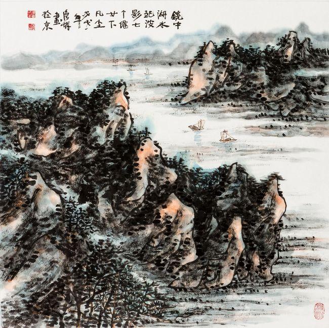 镜中湖水起波影,七个仙女下凡尘 68cm×68cm 唐辉