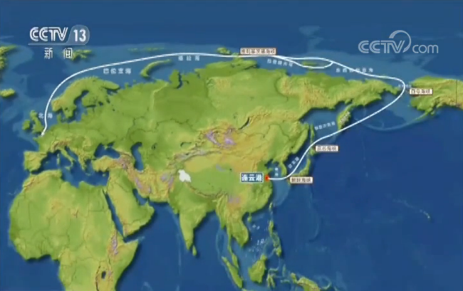 A map showing the route of Tain'en beginning in China through the Arctic to Europe. [Screenshot: CCTV.com]