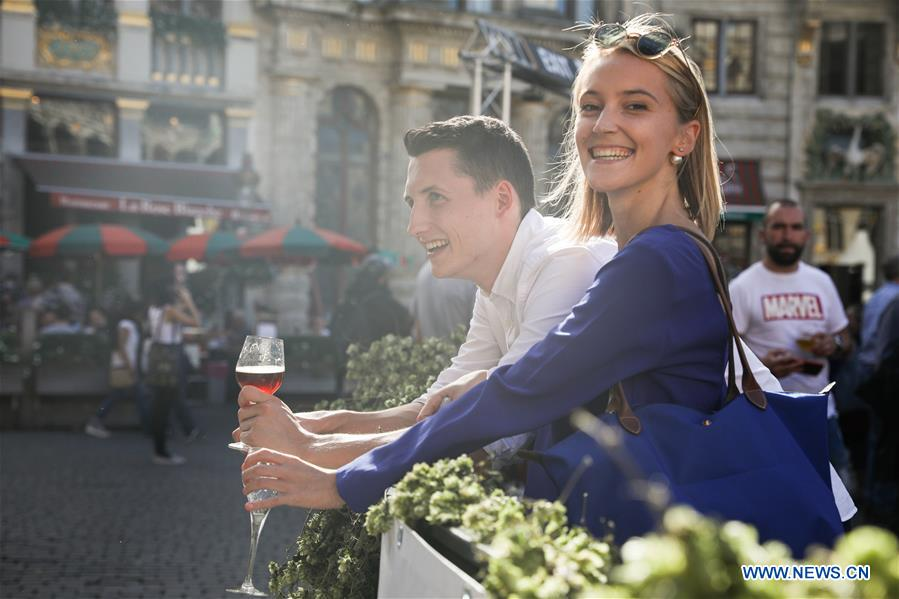 Beer lovers attend Belgian Beer Weekend at Grand Place in Brussels