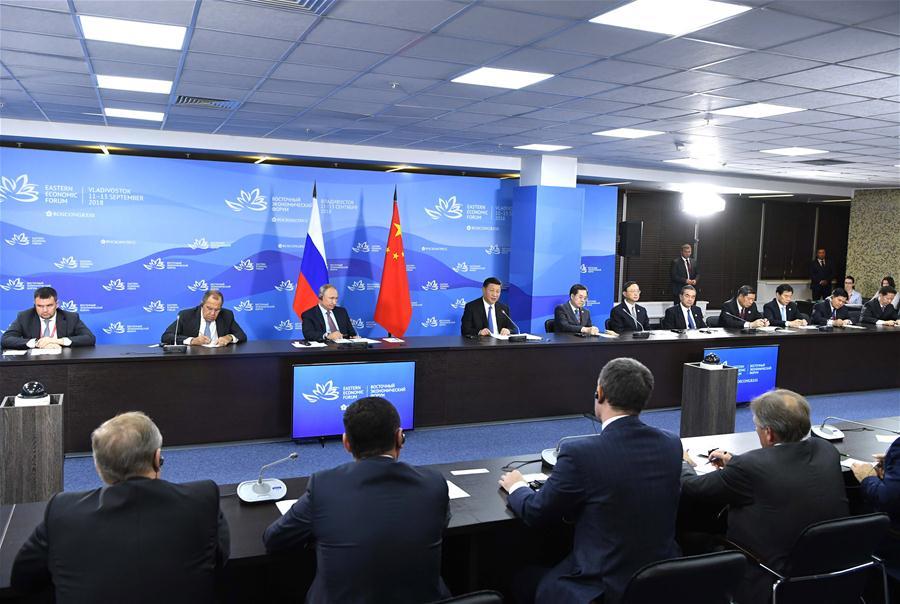 RUSSIA-VLADIVOSTOK-XI JINPING-PUTIN-ROUNDTABLE MEETING