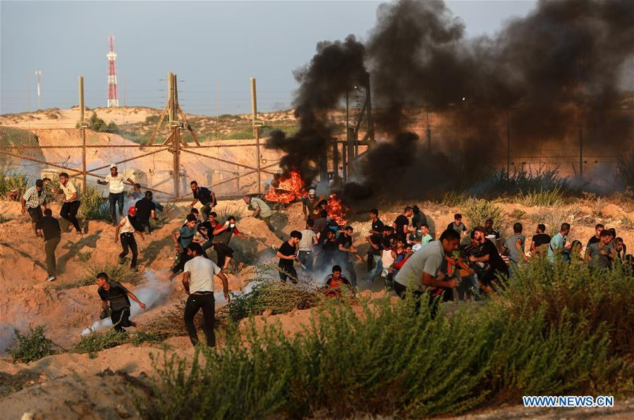 95 Palestinians injured in clahses with Israeli soldiers in northern Gaza