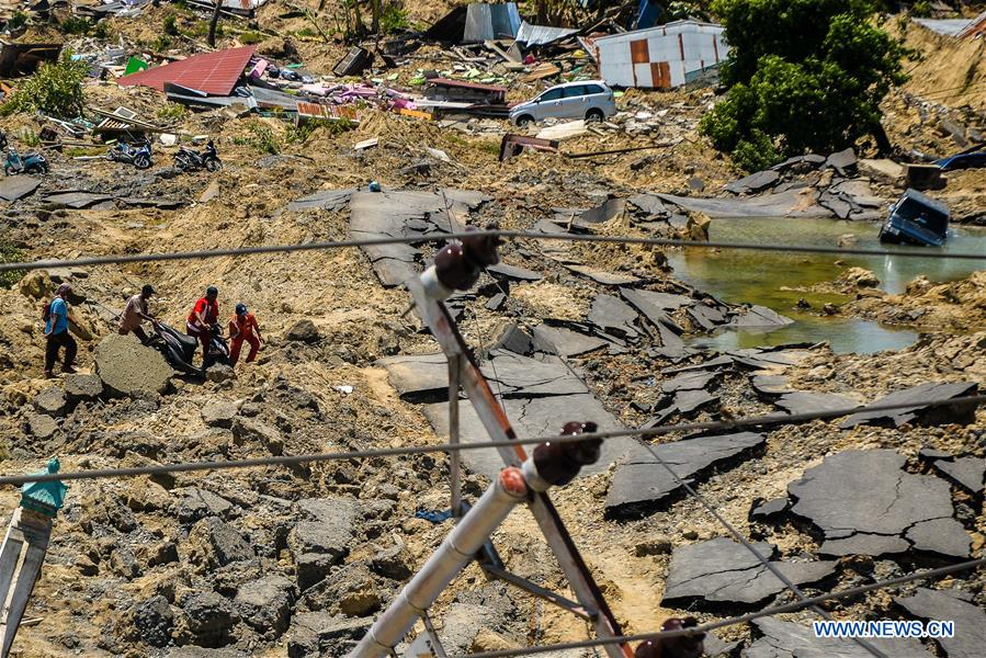 Aftermath of earthquake in Indonesia
