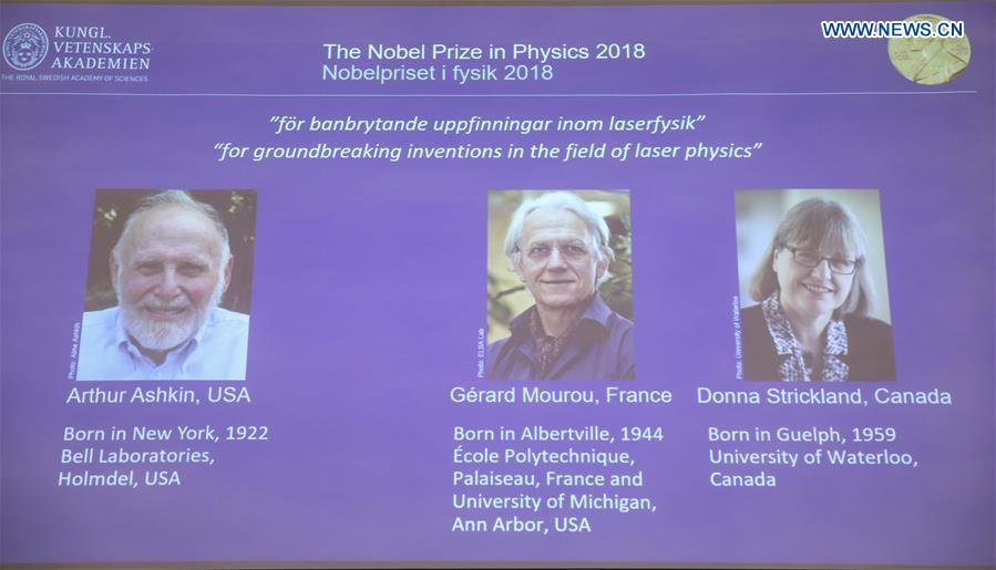 3 scientists share 2018 Nobel Prize in Physics