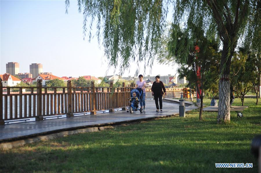 Ecological parks constructed on site of waste land in Huanghua, China's Hebei