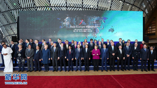Chinese Premier Li Keqiang and other leaders form Asian and European countries take photo at the 12th Asia-Europe Meeting (ASEM) Summit in Brussels on October 19, 2018. [Photo: Xinhua]