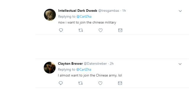 The screenshot of netizens' comments after watching Chinese People's Liberation Army recruitment video. [Photo: huanqiu.com]