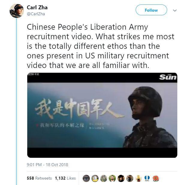 The screenshot of the Chinese People's Liberation Army recruitment video put online by a netizen named Carl Zha  on October 18. [Photo: huanqiu.com]