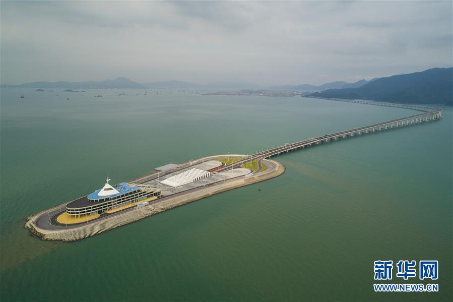 (经济)(1)航拍港珠澳大桥香港段
