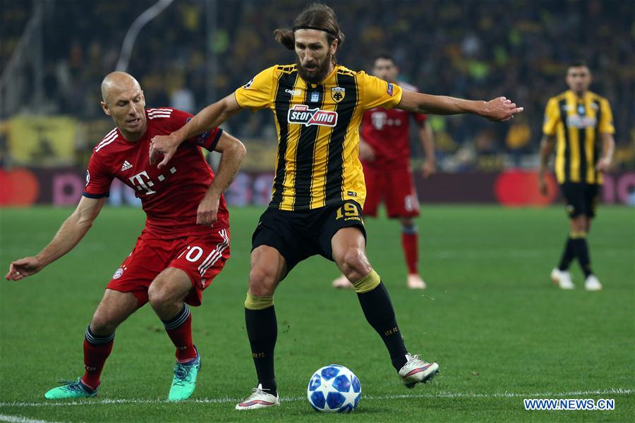 AEK Athens lose to Bayern Munich 2-0 at home in UEFA Champions League
