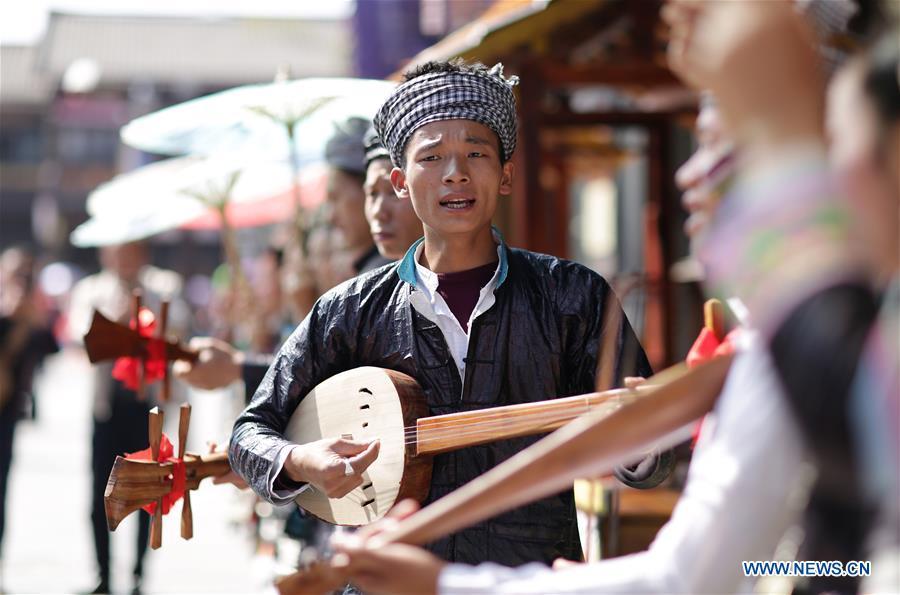 Long-table banquet held in Danzhai County, SW China's Guizhou