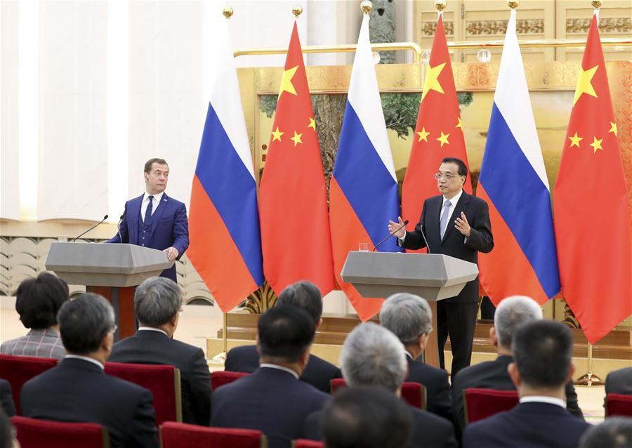 CHINA-BEIJING-LI KEQIANG-RUSSIAN PM-REGULAR MEETING-PRESS (CN)